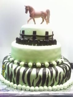 Happy Birthday! cake with horse topper