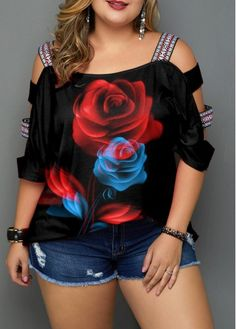 Plus Size Black Ladder Sleeve Floral Print Blouse Plus Size Blouses, Plus Size Tops, Plus Size Women, Classy Outfits, Cute Outfits, Printed Blouse, Plus Size Outfits, Plus Size Fashion, Floral Prints