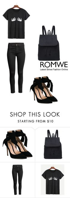"""Romwe all black everything"" by selma-imsirovic-01 ❤ liked on Polyvore featuring Gianvito Rossi"