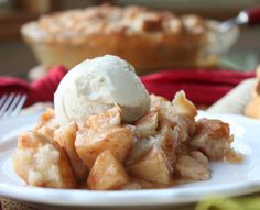 This chunky apple pie has always been one of my favorite desserts. I love how the topping is more like a streusel than a regular pie crust.