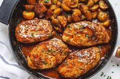 Find main dishes recipes for dinner at including chicken recipes, fish, vegetable and pasta dishes. Pork Chops And Potatoes, Pork Loin Chops, Boneless Pork Chops, Baked Pork Chops, Best Pork Chop Recipe, Pork Chop Recipes, Chicken Recipes, Lamb Recipes, Pork Dishes