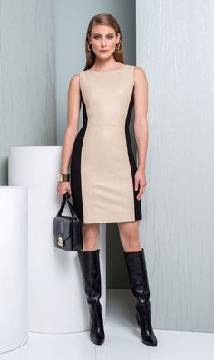 215384 - Tempt:  Genuine leather sheath dress with stretch ponte side panels