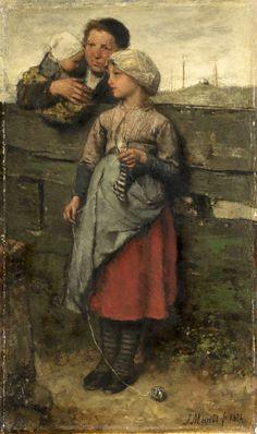Jacob Henricus Maris (1837-1899) Dutch  Villagers  (knitting striped socks!)