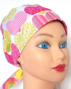 A personal favorite from my Etsy shop https://www.etsy.com/listing/262838539/womens-surgical-scrub-hat-simply-tie