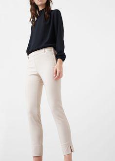 Slim-fit cotton-blend trousers - Pants for Women | MANGO USA
