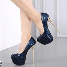 16cm High Heels Bright Pumps Casual Female Round Toe Platform #platformpumpswedges #highplatformpumps