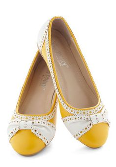 I go for cute in ballet flats too by the look of it lol!  How About Wow? Flat in Sunflower, #ModCloth