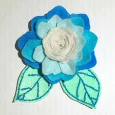 Handmade Felt Hair Clip - Flower with leaf - HCF01, blue color tone, suitable to pair with blue or white clothes