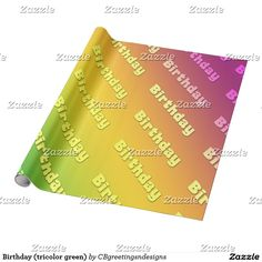 Birthday (tricolor green) wrapping paper