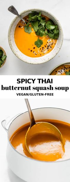 This spicy Thai butternut squash soup is made with roasted squash and curry for a delicious creamy soup that is jam-packed with flavour! Try this soup for dinner tonight that also happens to be vegan and gluten-free! Vegan Soups, Vegetarian Recipes, Healthy Recipes, Thai Soup Vegetarian, Thai Butternut Squash Soup, Butternut Curry, Whole Food Recipes, Cooking Recipes, Roasted Squash