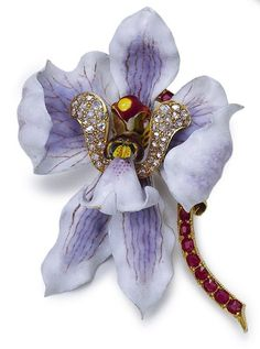Circa 1904 Enameled Gold, Ruby, and Diamond Brooch by G Paulding Farnham for Tiffany Co.