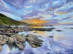 Sunrise Millendreath Beach Looe in Cornwall looking towards Bodigga Cliffs: Oil painting. Millendreath Beach - small, sheltered, beach not far from of Looe Rock Pools, Types Of Art, Cliff, Art For Sale, Paths, Sunrise, Coastal, Explore, Drawings