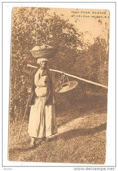 Black Female farmer, PENN SCHOOL, St Helena Island, South Carolina, PU-1911 ADV for school on back