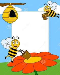 Cartoon Bees Photo Frame Photo frame, post card or page for your scrapbook. Cartoon Cartoon, Bee Rocks, Bee Pictures, Boarders And Frames, Photo Frame Design, Bee Photo, Bee Movie, Butterfly Template, Cute Bee