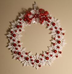 Christmas Snowflake Wreath Red and White by GlitterGlassAndSass