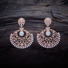 Dazzling CZ Zircon Hanging earrings studded with White synthetic stones, with Rose-gold Polish. Ear Jewelry, Jewelry Art, Antique Jewelry, Jewelery, Jewelry Design, Fancy Jewellery, Silver Jewellery Indian, Saree Jewellery, Hanging Earrings