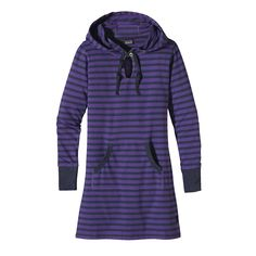 Patagonia Women's Ahnya Dress - A dress for surf checks and beyond: Made of a soft organic cotton/polyester blend, it has a fun hood and marsupial-style pouch pockets.