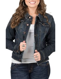 Earl Jean Women's Dark Wash Long Sleeve Denim Jacket | Cavender's