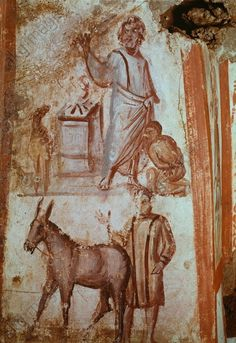"ABRAHAM SACRIFICES ISAAC. Rome – Roma (Italy), Catacombs – Catacombe di via Latina, Cubiculum C, left alcove.  ""Abraham sacrifices Isaac"".  Fresco, early Christian, 4th Century. 90 × 46 cm."