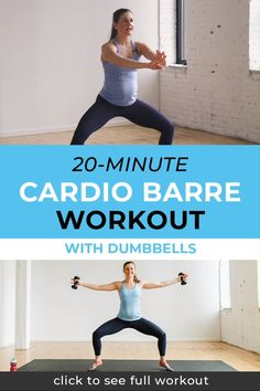 Cardio Barre Workout Grab this free barre workout video here! This 20 minute at home workout video is a perfect way to reach your wellness goals and get fit at home. Click through for this free workout video today! Barre Exercises At Home, Pilates Workout Videos, Cardio Barre, Home Workout Videos, Fitness Workouts, At Home Workouts, Barre Fitness, Physical Fitness, Fitness Classes
