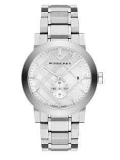 BURBERRY Check Stamped Stainless Steel Watch. #burberry #watch
