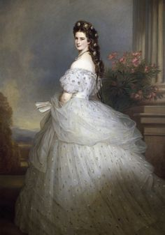 "Portrait of Empress Elisabeth of Austria, or Princess Sissi as she is better known thanks to Romy Schneider's movies. ""Elisabeth with diamond stars in her hair"" (oil on canvas) 1865 Franz Xaver Winterhalter Franz Xaver Winterhalter, Victorian Fashion, Vintage Fashion, Victorian Era Dresses, Victorian Gown, Victorian Costume, Victorian Art, Kunsthistorisches Museum Wien, Empress Sissi"