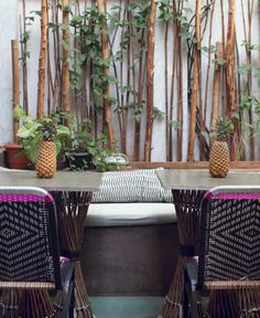 THE ART LOFT & KOMBAVA CAFE - by Sian Pascale for Young Citizens - Outdoor patio seating cafe interior design hand woven chairs
