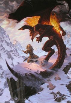 Gandalf fighting the Balrog atop Celebdil by Raoul Vitale