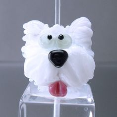 Loribeads Bella white dog handmade glass lampwork. So cute. Must allow it to inspire me to create something similar, for my own personal use, of course.