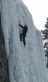 Ice Climbing in Hyalite Canyon, south of Bozeman, Montana.