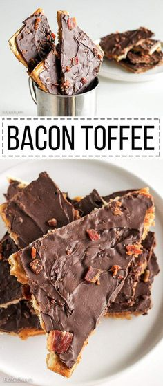 Make for Michael for thanksgiving hitch! This Bacon Toffee is easy, delicious, and super addictive! Bacon adds a smoky, salty twist to a classic holiday favorite. Only five ingredients! Fun Desserts, Delicious Desserts, Dessert Recipes, Yummy Food, Desserts With Bacon, Awesome Desserts, Quick Dessert, Simple Dessert, Birthday Desserts