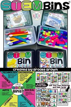 STEM Bins® and STEAM Bins by Brooke Brown are an ideal hands-on solution for early finishers, morning work, centers, fine motor practice, indoor recess, or positive reinforcement of behavior. They are also a creative and developmentally appropriate form of engineering for elementary students. | Elementary STEM | Kindergarten, First Grade, Second Grade, Third Grade, Fourth Grade, Fifth Grade