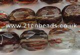 Faceted egg-shaped gold sand quartz beads $6.57