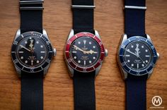 Tudor Black Bay collection - Black Bezel 79220N - Blue Bezel 79220B - Red Bezel 79220R