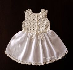 Pretty Bow Dress . Baby girl dress made with soft pure 100% linen. Crochet top with crochet flower, button closure on the front, white skirt material with crochet ruffle on the hem . Very easy to wear and comfy. Chest 25 T-lenght- 21 If you have any concern about
