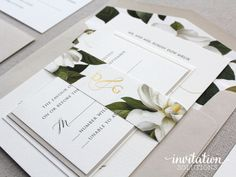Love the pops of magnolia and gold foil monogram touch in this invitation suite for Devin & Gareth!