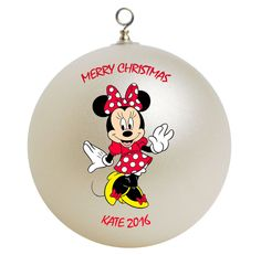 Disney Ornaments, Holiday Ornaments, Christmas Bulbs, Merry Christmas, Holiday Decor, Hand Painted Ornaments, Glass Ornaments, Minnie Mouse Christmas, Disney Crafts