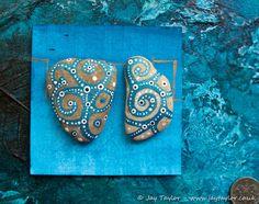 Miniature original art on stone: shimmering duo of hand painted British pebbles | eBay | Bidding starts at £10.99