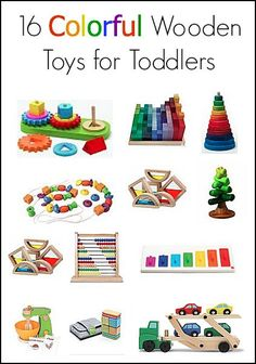 Gift Ideas for Birthdays and Christmas: 16 Colorful Wooden Toys for Toddlers and Preschoolers~ BuggyandBuddy.com