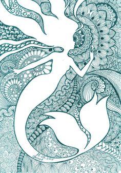 Mermaid-Zentangle by demetkilic on DeviantArt