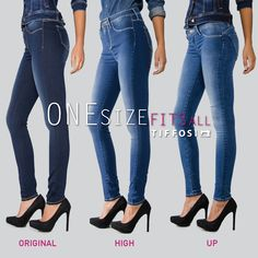 TIFFOSI | One Size Fits All  Qual é a tua preferida: Original, High ou Up? What's your favorite: Original, High or Up?  #tiffosi #tiffosidenim #jeans #onesizefitsall #tiffosionesizefitsall #onesizejeans #denim #original #high #up