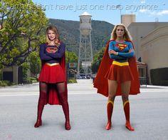 Melissa Benoist and Helen Slater as Supergirl.