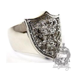 Men's Silver  Ring Royal Crown Knight Shield