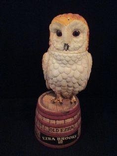 "Ezra Brooks Owl Decanter, no date, empty, 10"""