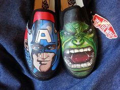 Hand-painted Captain America w The Hulk on Vans shoes