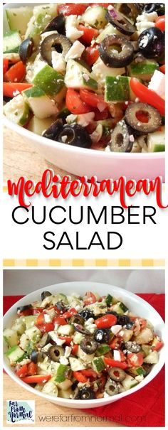 Mediterranean Cucumber Salad This salad combines all fantastic Mediterranean flavors in an easy delicious salad! Fresh tomatos, cucumbers, feta and more! The perfect summer salad! Mediterranean Cucumber Salad, Mediterranean Diet Recipes, Greek Cucumber Salad, Mediterranean Appetizers, Cucumber Salad Vinegar, Fruit Salad, Cucumber Juice, Caesar Salad, Mediterranean Soup