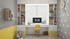 Yellow Kids' Rooms: How To Use & Combine Bright Decor - Kinderzimmer Study Room Design, Kids Room Design, Study Space, Yellow Kids Rooms, Minimalist Kids, Bright Decor, Toddler Rooms, Kids Bedroom, Bedroom Desk