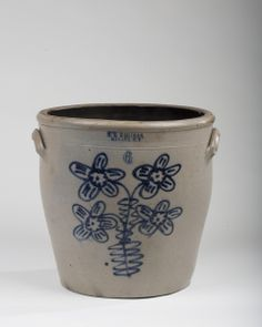 Northeast Auctions NEW YORK STONEWARE SIX-GALLON CROCK WITH COBALT DECORATION, H.M. WHITMAN, HAVANA. Sold: $ 826.00