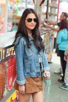 Denim jacket, brown skirt, lace top // What to wear to Coachella // festival outfit idea via @ktysire