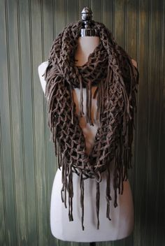 Crochet Chocolate Infinity Scarf by 1 Happy Girl Boutique  Want to learn how to crochet this one.